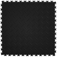 Perfection Floor Tile ITDP450BK45 Diamond Plate Pattern Floor Tile, 20-1/2 in L x 20-1/2 in W x 4.5 mm T, Vinyl