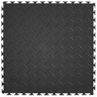 Perfection Floor Tile ITDP450DG45 Diamond Plate Pattern Flexible Interlocking Floor Tile, 20-1/2 in L x 20-1/2 in W