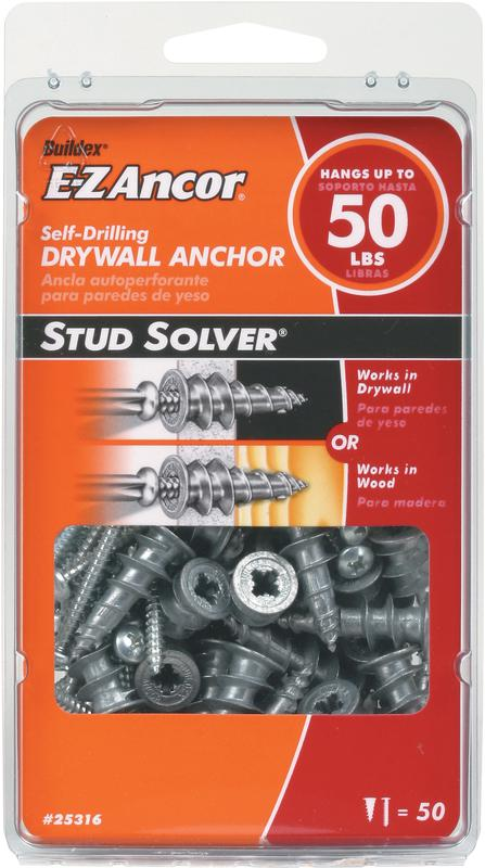 Stud Solver 25316 Medium Duty Hollow Wall Anchor, 1/2 in x 1-1/4 in, Zinc Alloy, Zinc Plated