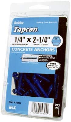 Tapcon 24305 Concrete Screw, 3/16 in x 1-3/4 in, Steel, Climaseal