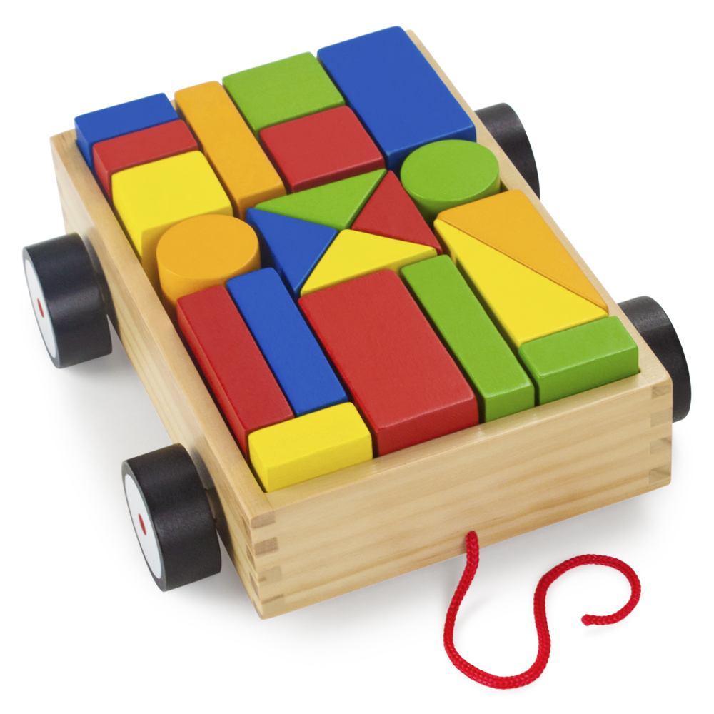 Wooden Wonders Take-Along Building Block Wagon