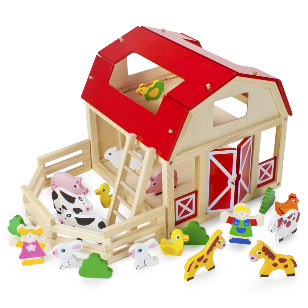 Wooden Wonders Busy Barnyard Farm Animals Playset