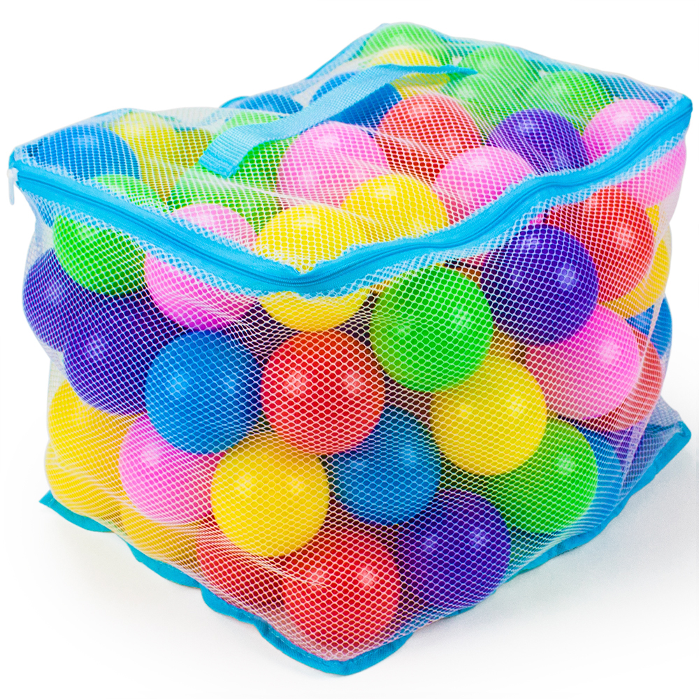 "100 Jumbo 3"" Multi-Colored Soft Ball Pit Balls w/Mesh Case"