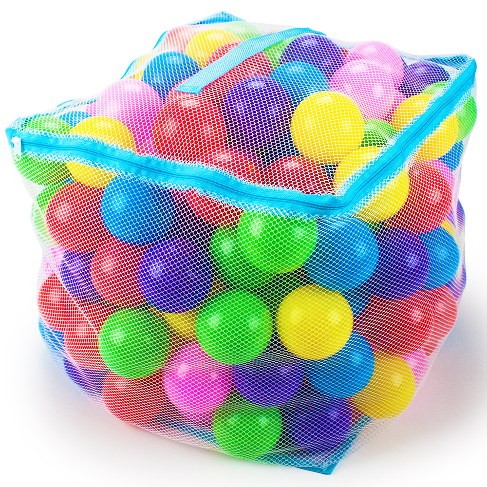 "200 Jumbo 3"" Multi-Colored Soft Ball Pit Balls w/Mesh Case"