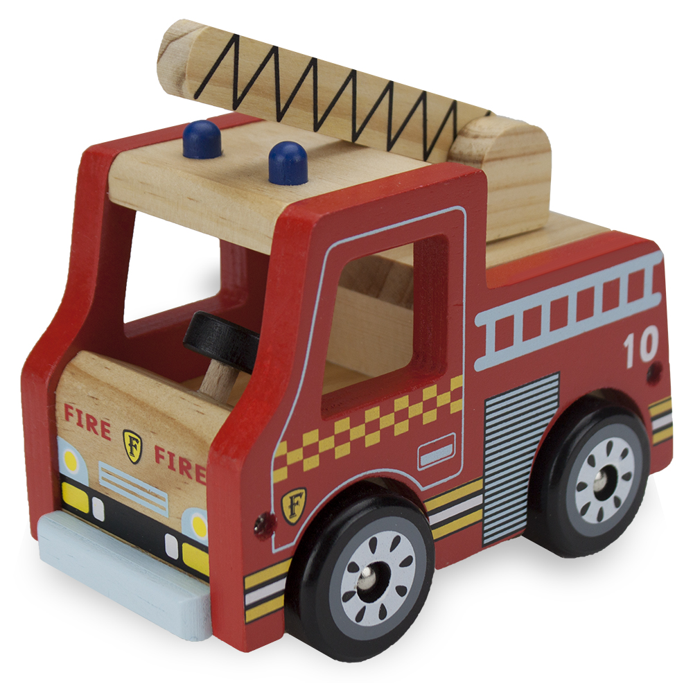 Wooden Wheels Natural Beech Wood Fire Engine