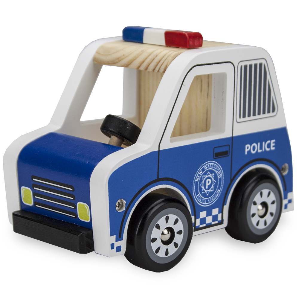 Wooden Wheels Natural Beech Wood Police Cruiser