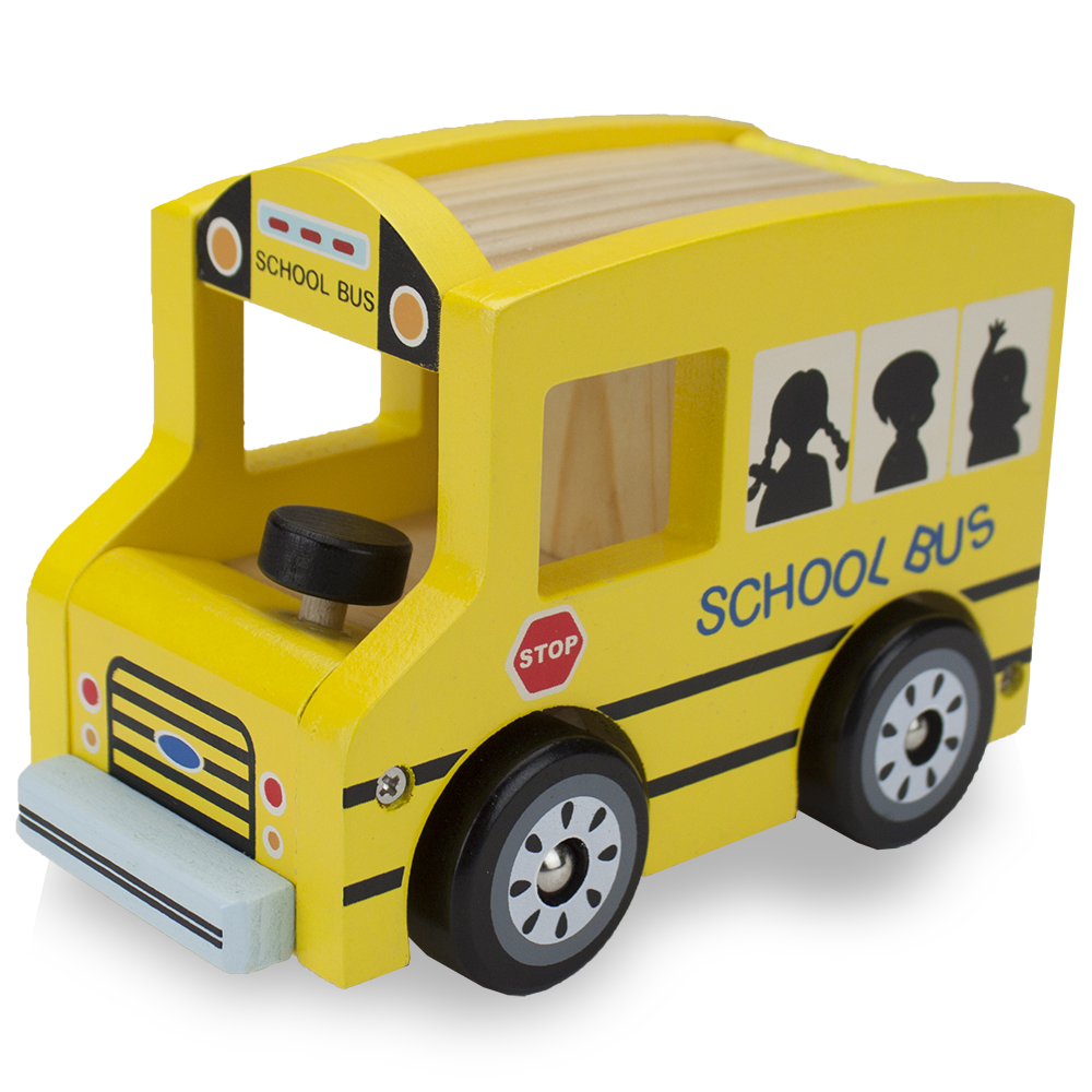 Wooden Wheels Natural Beech Wood School Bus