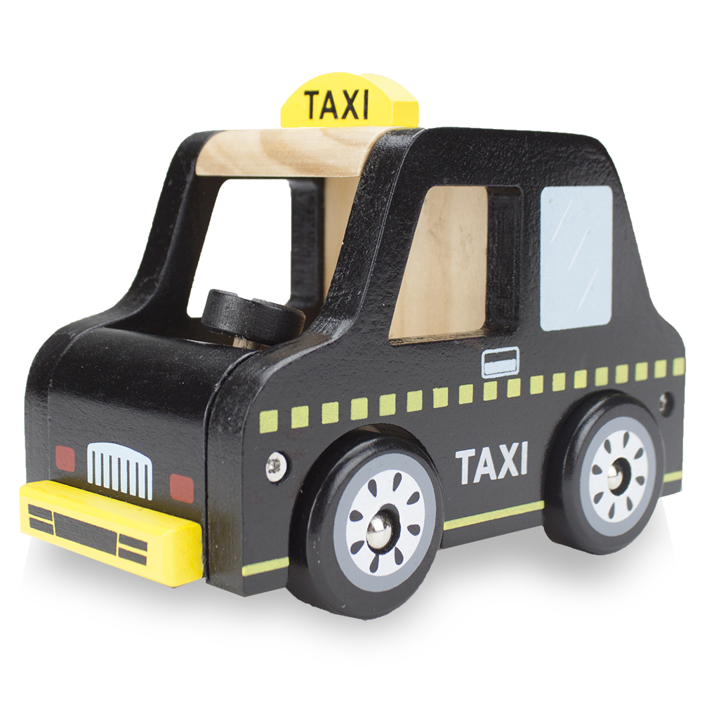 Wooden Wheels Natural Beech Wood Taxi Cab