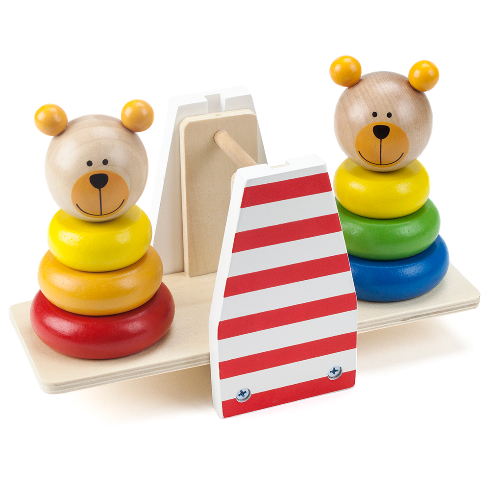 Wooden Wonders Balancing Bears Stacking See-Saw