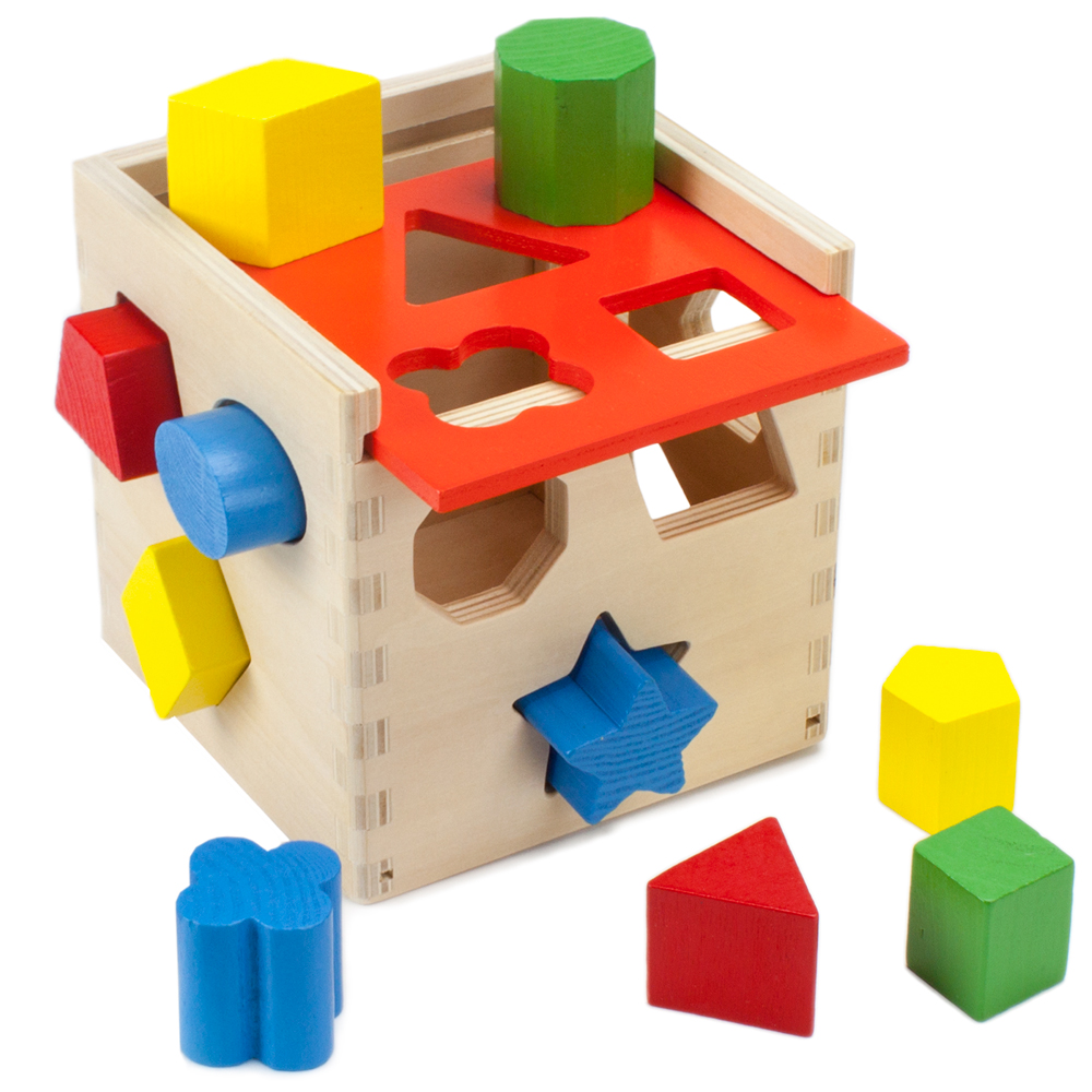 Wooden Wonders Hardwood Shape Sorting Cube