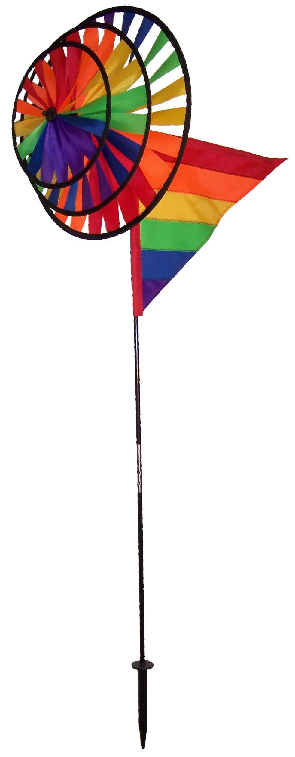 In the Breeze Triple Wheel Rainbow Garden Spinner with Wind Sail