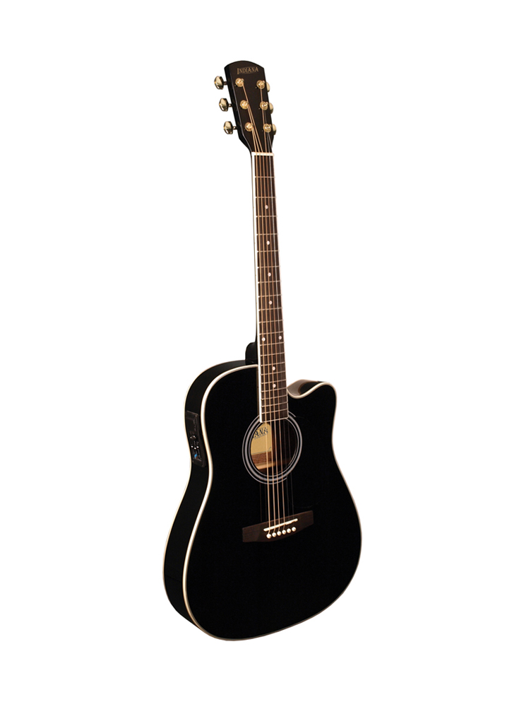 Indiana Thin Body Acoustic / Electric Guitar Black