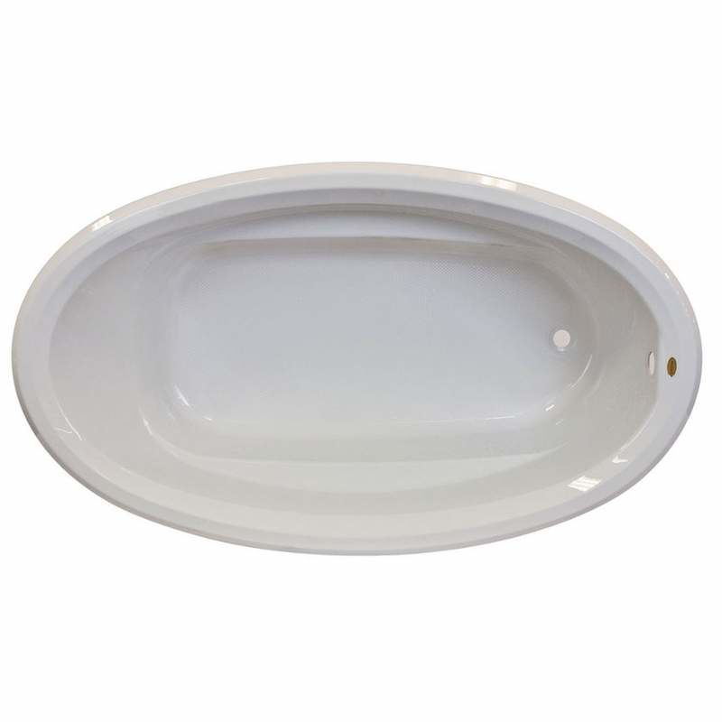 @ 59 X 41 Left Hand Drop In OVAL NON Jet Tub White