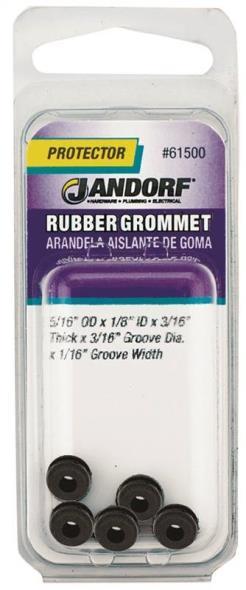 Jandorf 61500 Grommet, 1/8 in ID x 5/16 in OD x 3/16 in T, Rubber, Black