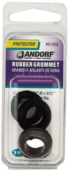 Jandorf 61502 Grommet, 1/2 in ID x 13/16 in OD x 9/32 in T, Rubber, Black