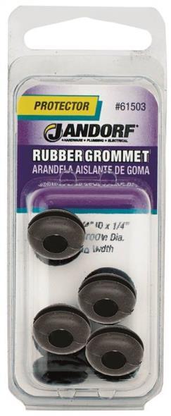 Jandorf 61503 Grommet, 1/4 in ID x 9/16 in OD x 1/4 in T, Rubber, Black
