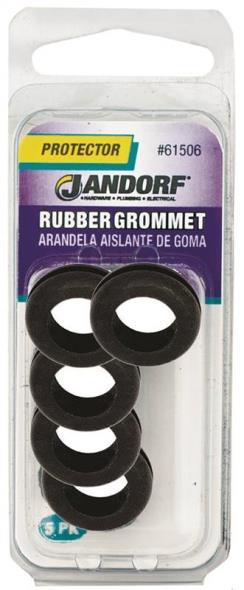 Jandorf 61506 Grommet, 7/16 in ID x 3/4 in OD x 1/4 in T, Rubber, Black