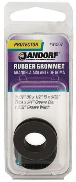 Jandorf 61507 Grommet, 1/2 in ID x 31/32 in OD x 9/32 in T, Rubber, Black