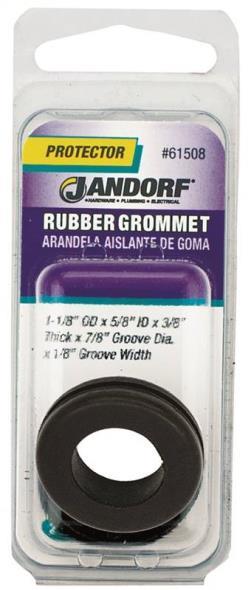 Jandorf 61508 Grommet, 5/8 in ID x 1-1/8 in OD x 3/8 in T, Rubber, Black
