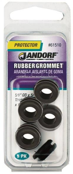 Jandorf 61510 Grommet, 5/16 in ID x 5/8 in OD x 1/4 in T, Rubber, Black