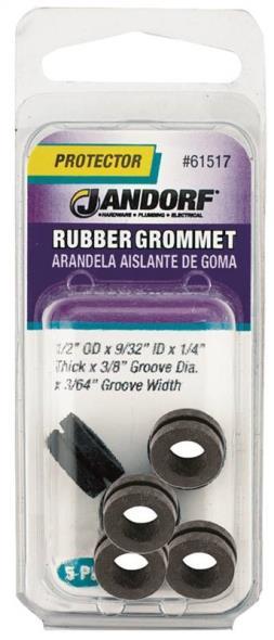 Jandorf 61517 Grommet, 9/32 in ID x 1/2 in OD x 1/4 in T, Rubber, Black