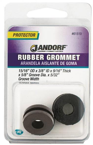 Jandorf 61519 Grommet, 3/8 in ID x 15/16 in OD x 9/16 in T, Rubber, Black
