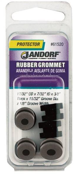 Jandorf 61520 Grommet, 7/32 in ID x 17/32 in OD x 3/8 in T, Rubber, Black