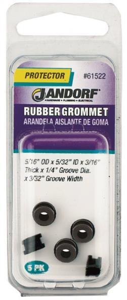 Jandorf 61522 Grommet, 5/32 in ID x 5/16 in OD x 3/16 in T, Rubber, Black