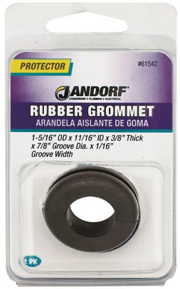 Jandorf 61542 Grommet, 11/16 in ID x 1-5/16 in OD x 3/8 in T, Rubber, Black