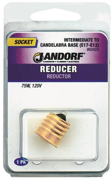 Jandorf 60424 Socket Reducer, 75 W, 120 V, Intermediate to Candelabra E17 E12 Base, Metallic