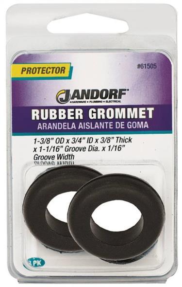 Jandorf 61505 Grommet, 3/4 in ID x 1-3/8 in OD x 3/8 in T, Rubber, Black