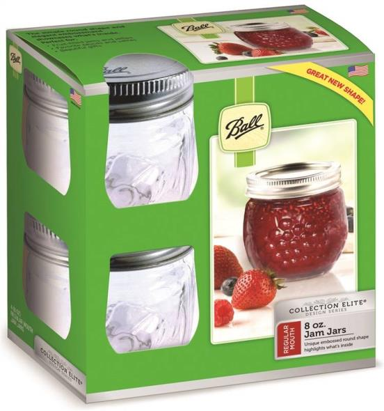 Ball 1440081210 Regular Mouth Jam Jar, 8 oz, Glass