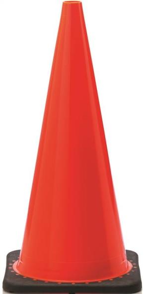 JBC Revolution RS RS70025C 3Wide Body Traffic Safety Cone, 28 in H, PVC, PVC, Fluorescent Orange