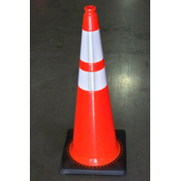 JBC Revolution RS RS70032CT3M64 Wide Body Traffic Safety Cone, 28 in H, PVC, PVC, Fluorescent Orange