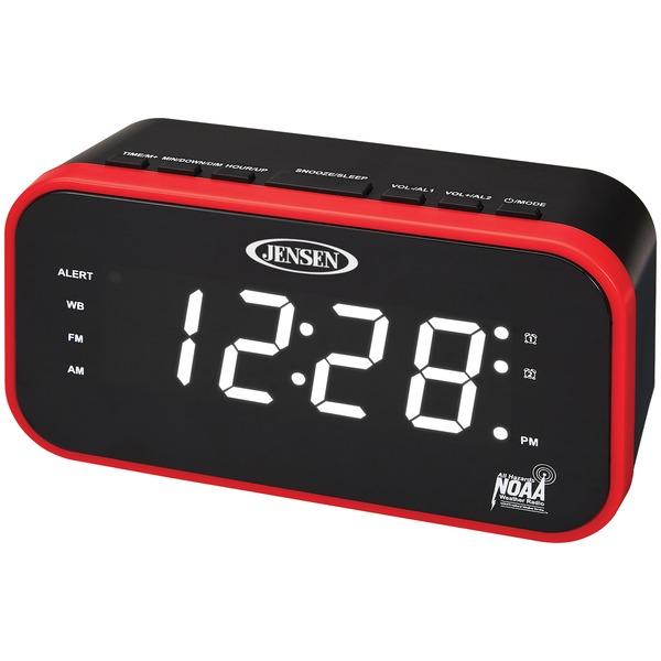 JENSEN JEP-150 AM/FM Weather Band Clock Radio with Weather Alert
