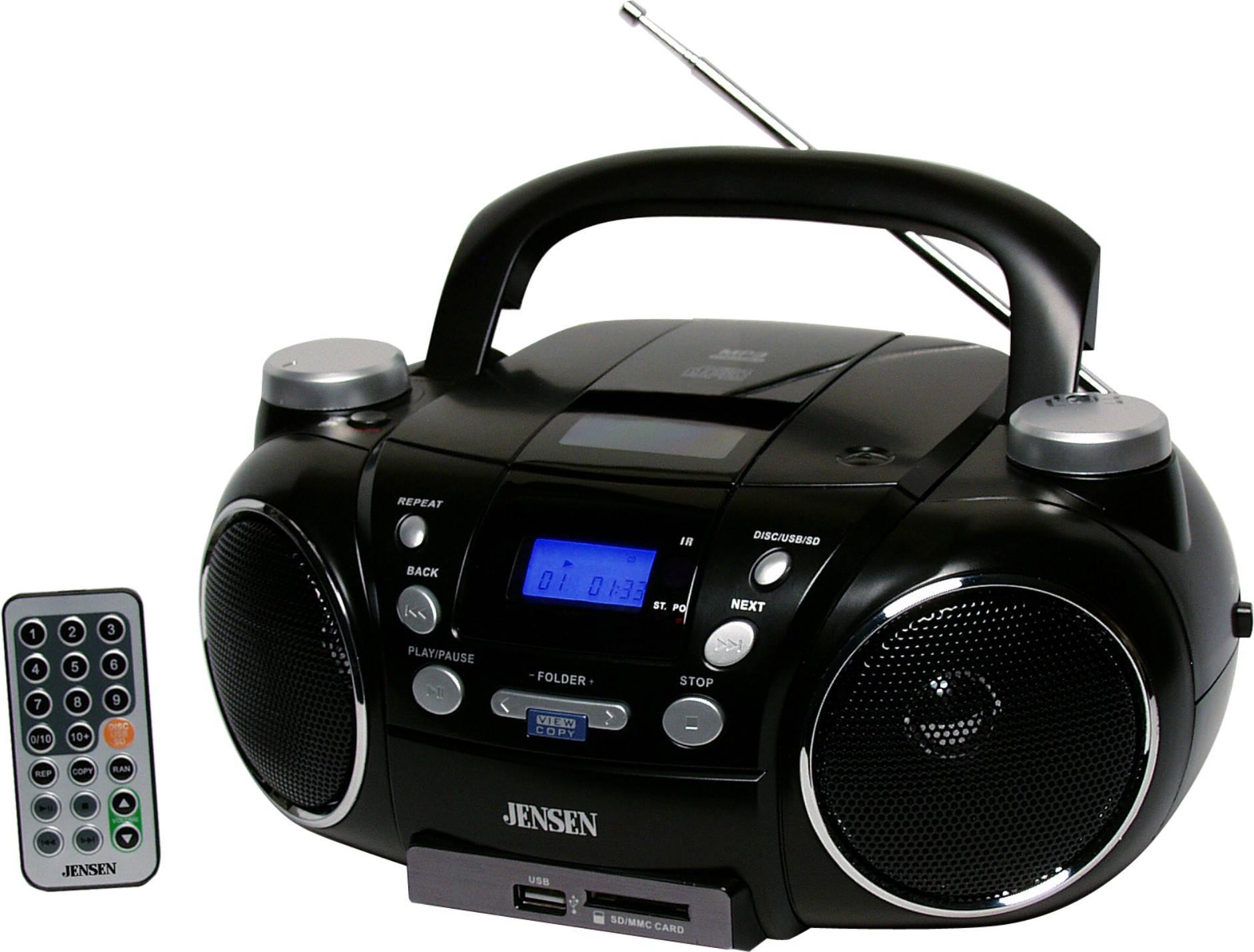 Jensen Cd750 Black Portable CD Player AM/FM Radio Digital