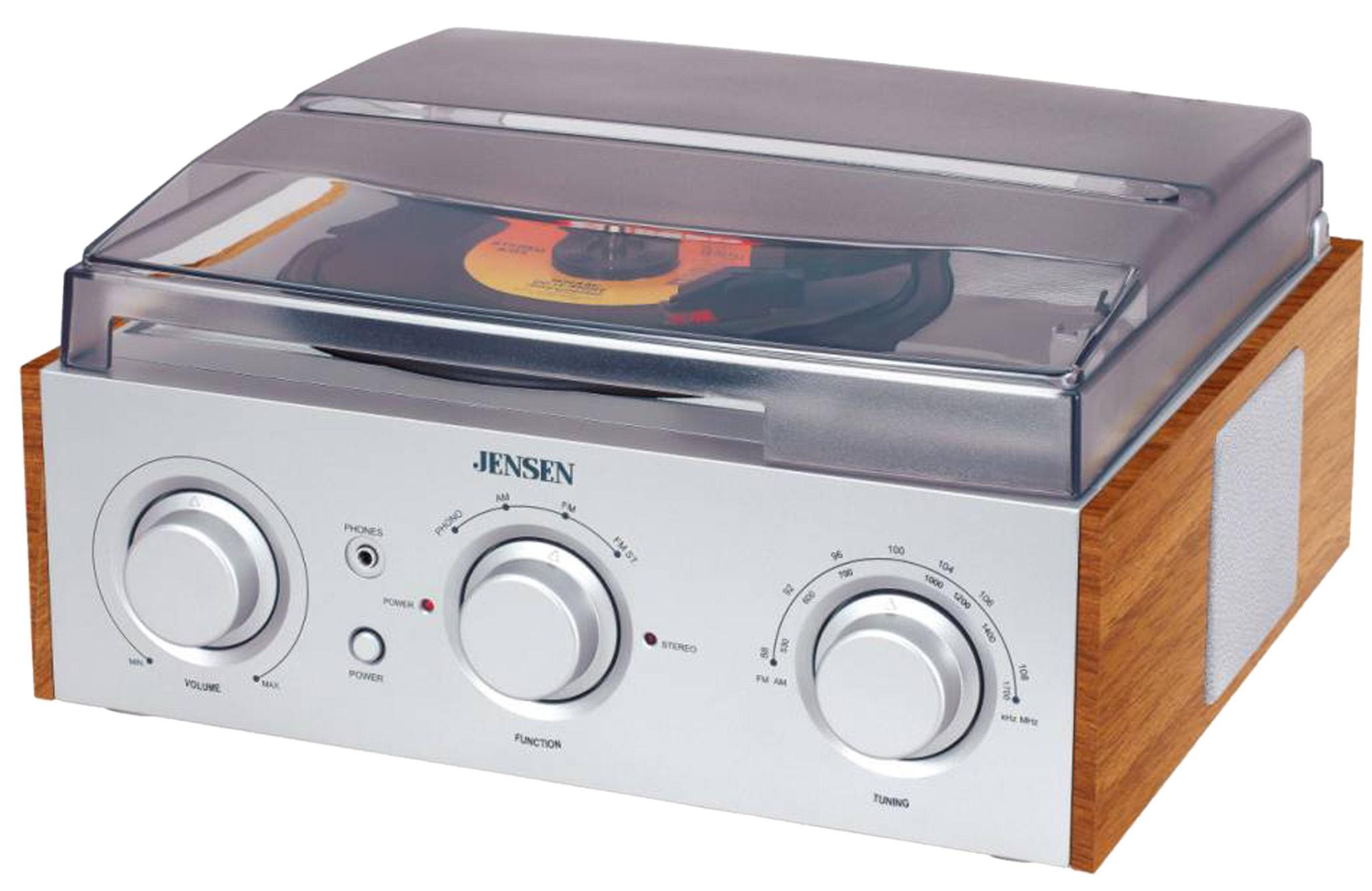 JENSEN JTA220 SILVER TURNTABLE 3 SPEED WITH AM FM RECEIVER