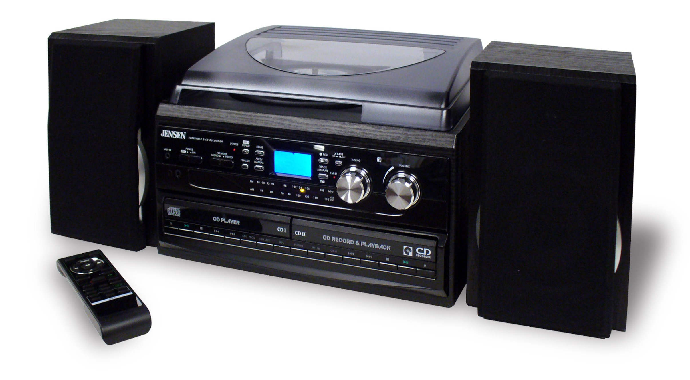 JENSEN JTA980CP BLACK STEREO TURNTABLE 3 SPEED MUSIC SYSTEM
