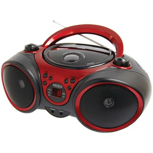 JENSEN CD490 BLACK/RED PORTABLE STEREO CD PLAYER WITH AM F