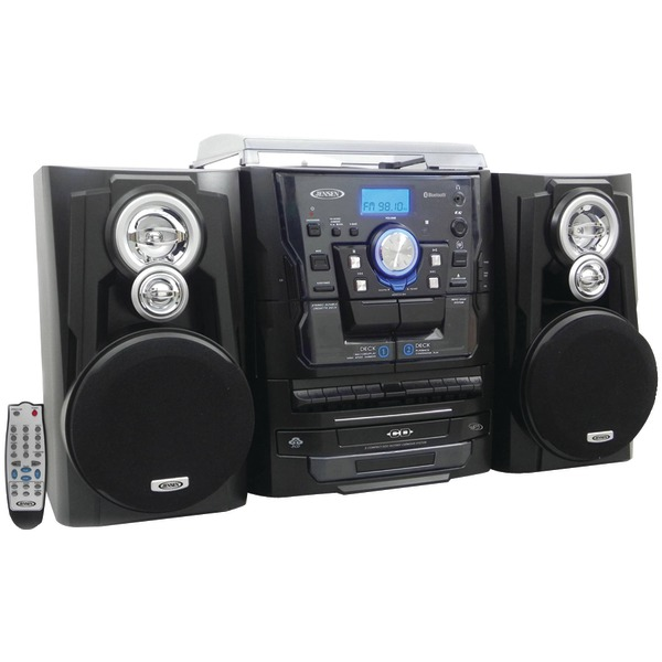 JENSEN JMC1250P BLACK  BLUETOOTH HOME STEREO 3SPEED TURNTABLE