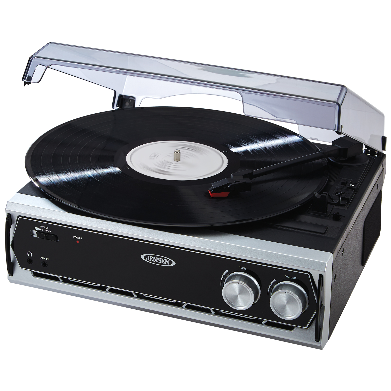 JENSEN JTA232 3-SPEED STEREO TURNTABLE WITH BUILT-IN SPEAKERS