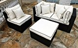 Hampton Wicker 4 Piece Sofa Set with Cushions�