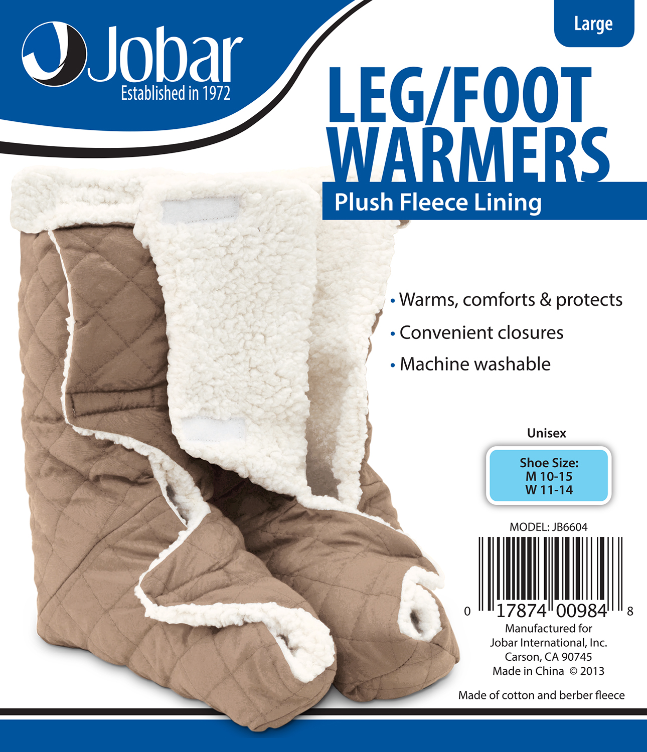 JOBAR JB6604 LARGE LEG AND FOOT WARMERS WITH PLUSH LINING
