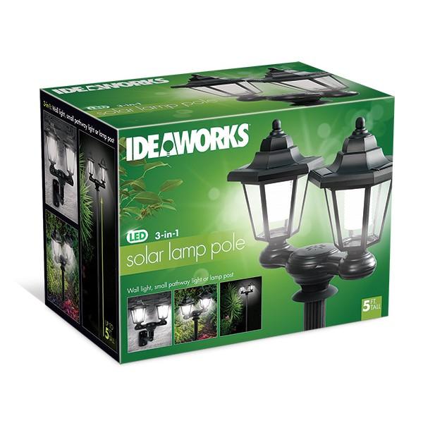 IDEAWORKS JB7849 3 IN 1 SOLAR LED LAMP POLE TWIN LANTERNS