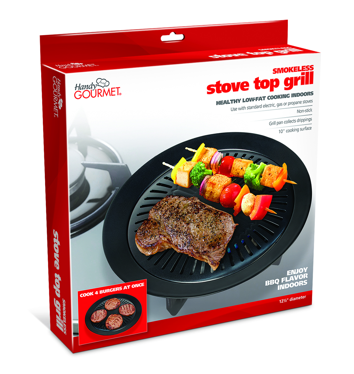 HANDY GOURMET JB7650 STOVE TOP GRILL MEATS AND VEGETABLES