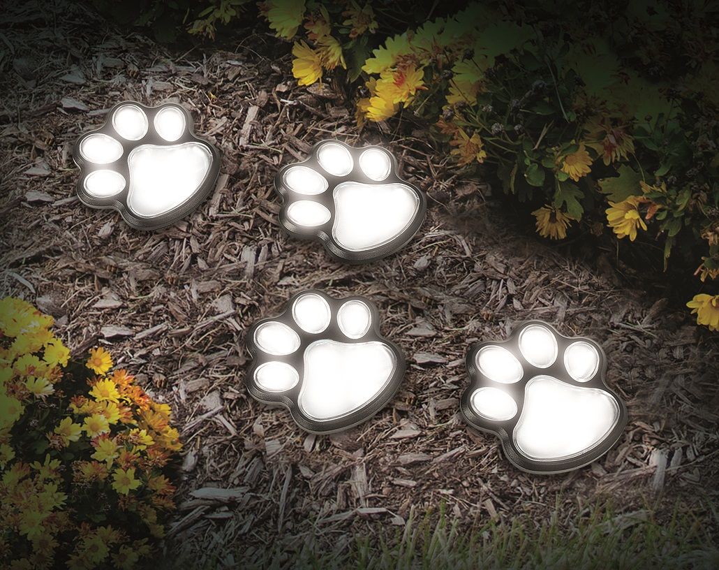 IDEAWORKS JB7356 SOLAR PAW PRINT 4 COLORED LED LIGHTS