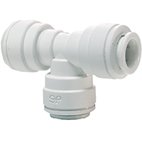 Speedfit PP0208WP Tube Union Equal Tee, 1/4 in, Push-Fit, 4 - 10 bar Working, Polypropylene, 20 - 60 deg C