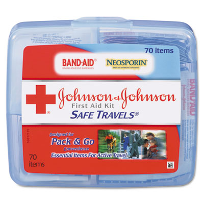 Portable Travel First Aid Kit, 70-Pieces, Plastic Case