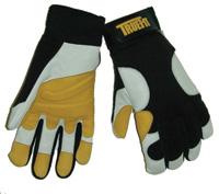 John Tillman Co Tillman+ 2X Black, Gold And Pearl TrueFit+ Super Premium Full Finger Top Grain Goatskin And Spandex Mechanics Gloves With Elasti ...