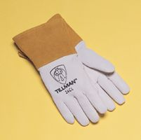 "Tillman+  Small Pearl Gray Kidskin Premium Grade TIG Welders Glove With Kevlar+ Stitching, Straight Thumb And 4"" Cuff"